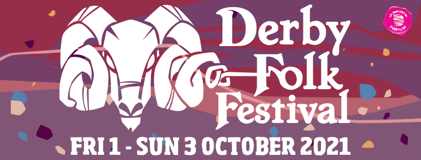 Derby Folk Festival logo with dates of 1 - 3 October 2021